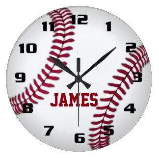 Monogram Baseball Large Clock