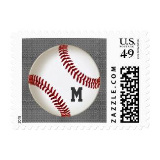 Monogram  Baseball Postage Stamps on Burnished G