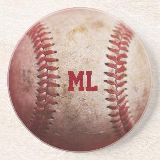 Monogram Baseball Round Sandstone Coasters