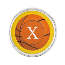Monogram Basketball Balls Sports pattern Pin