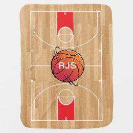 Courts custom baby blankets zazzle monogram basketball on basketball court baby blanket negle Choice Image
