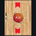 "Monogram Basketball on basketball court Dry Erase Board<br><div class=""desc"">Monogram Basketball on basketball court</div>"