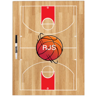 Monogram Basketball on basketball court Dry Erase Board