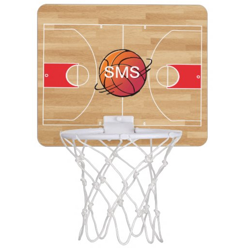 Monogram Basketball On Basketball Court Mini Basketball Hoop Zazzle