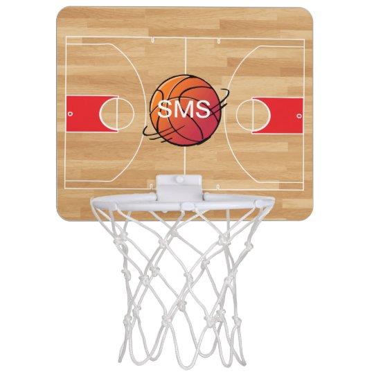 Monogram Basketball On Basketball Court Mini Basketball