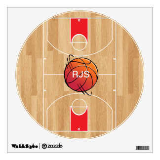 Monogram Basketball on basketball court Wall Decal