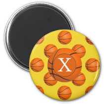 Monogram Basketball Sports Pattern Magnet