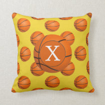 Monogram Basketball Sports Pattern Throw Pillow