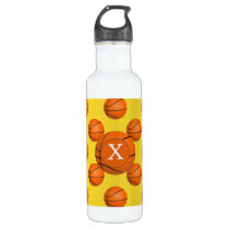 Monogram Basketball Sports Pattern Water Bottle