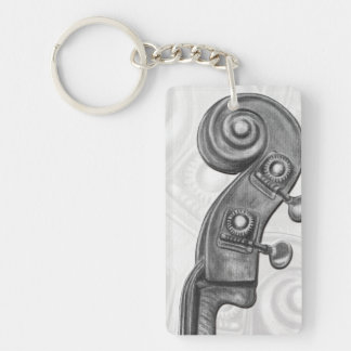 Monogram Bass Headstock in Charcoal Music Keychain