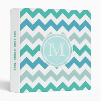 Monogram: Beach Blue Chevron Binder