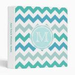 Monogram: Beach Blue Chevron Vinyl Binder