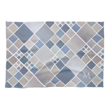 Beach Themed Monogram Beach Geometric Pattern Kitchen Towel