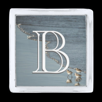 Monogram Beach / Surf Silver Finish Lapel Pin
