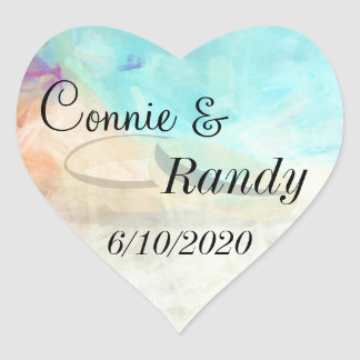 Monogram Beach Wedding Sticker with Wedding Rings