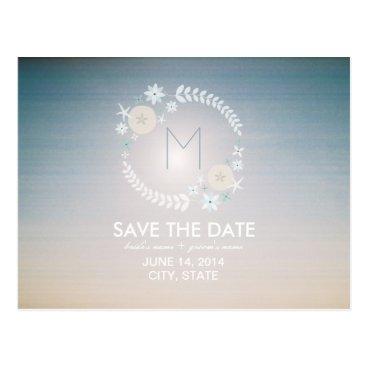 Beach Themed Monogram Beach Wreath Sky Save The Date Postcard