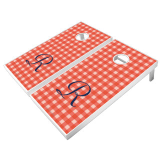 Monogram Beanbag Toss Red Check Lawn Game Cornhole Set