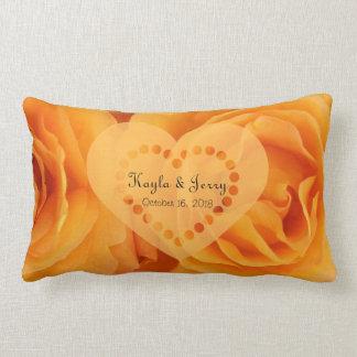 Monogram Beautiful Orange Hybrid Tea Roses Heart Lumbar Pillow