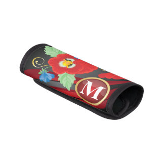 Monogram Beautiful Red Floral Design Luggage Handle Wrap