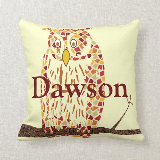 Monogram Beautiful Vintage Ilustration of Owl Pillow
