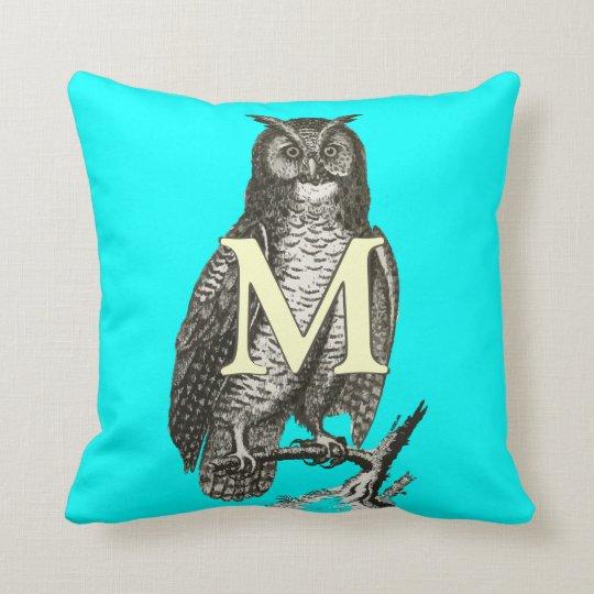Monogram Beautiful Vintage Ilustration of Owl Throw Pillow
