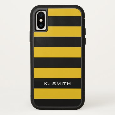Beach Themed Monogram. Bee Black and Yellow Stripes. iPhone X Case