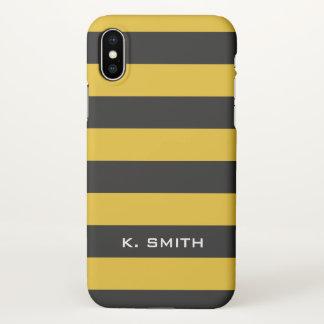 Monogram. Bee Black and Yellow Stripes. iPhone X Case