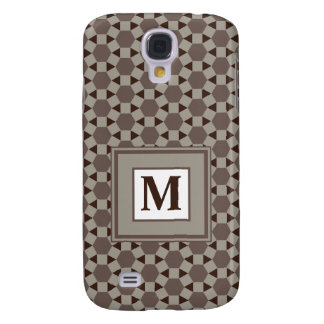Monogram Beige and Brown Tessellation Pattern Samsung Galaxy S4 Cover