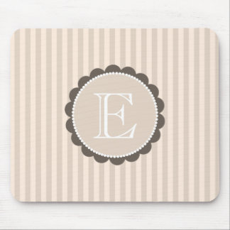 Monogram Beige Brown White Scalloped Stripes Mouse Pad