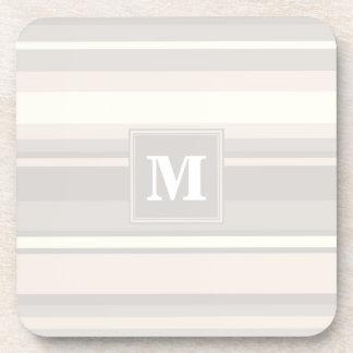 Monogram beige stripes beverage coaster