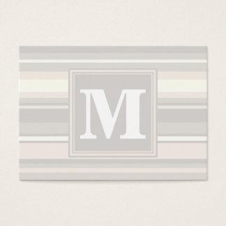 Monogram beige stripes business card