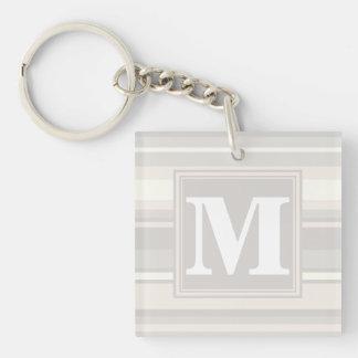 Monogram beige stripes keychain