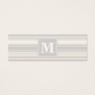 Monogram beige stripes mini business card