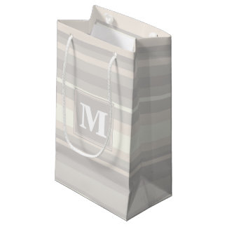 Monogram beige stripes small gift bag