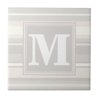 Monogram beige stripes tile