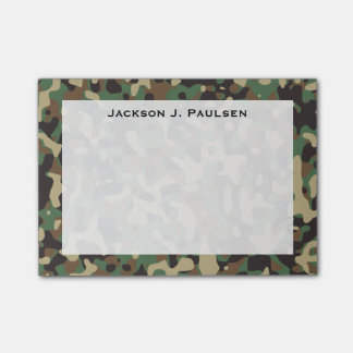 Monogram Beige, Tan, Brown, Green, Gray Camouflage Post-it® Notes
