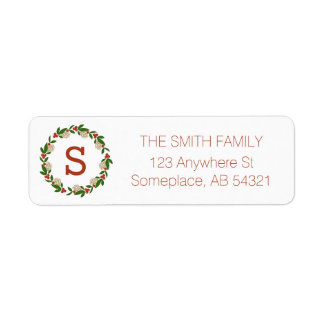 Monogram Berry Magnolia Leaf Holiday Wreath Labels
