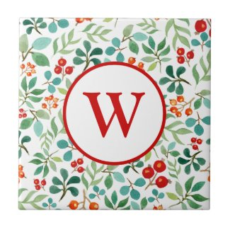 Monogram Berry with Stem and Leaves Ceramic Tile