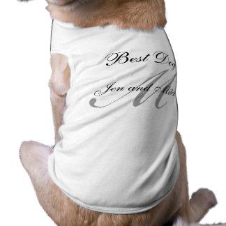 Monogram Best Dog Wedding Shirt Grey and White