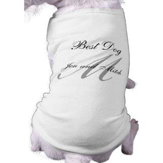 Monogram Best Dog Wedding Shirt Grey and White Dog T Shirt