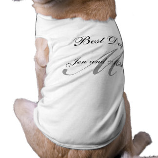 Monogram Best Dog Wedding Shirt Grey and White Doggie T-shirt