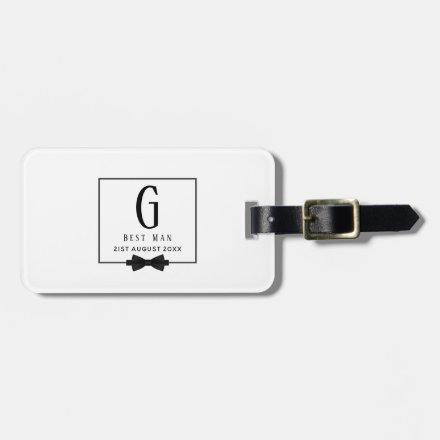 Monogram BEST MAN Groomsmen Groomsman Black Tie Luggage Tag