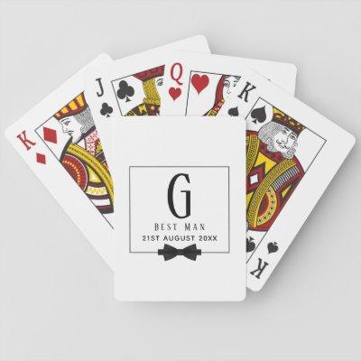 Monogram BEST MAN Groomsmen Groomsman Black Tie Playing Cards