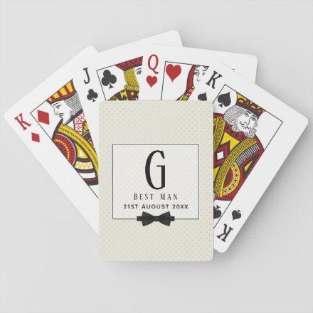 Monogram BEST MAN Groomsmen Groomsman Fleurdelis Playing Cards