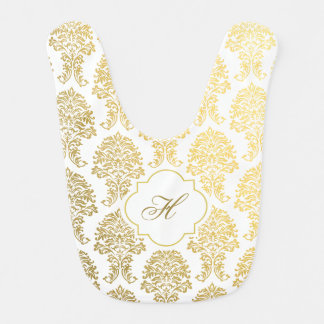 Monogram Bib in gold damask printed pattern