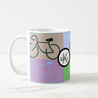 Monogram Bike Squares Brown, Purple, Blue and Gree Coffee Mug