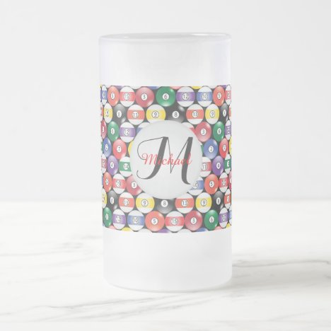 Monogram Billiards Ball Design Frosted Glass Beer Mug