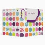 Monogram binders, colorful polka dots