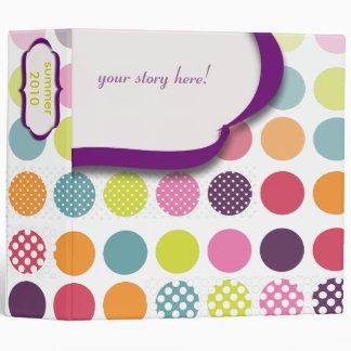 Monogram binders, colorful polka dots 3 ring binder