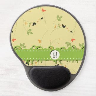 Monogram - Birds, Leaves, Berries - Green Yellow Gel Mousepads